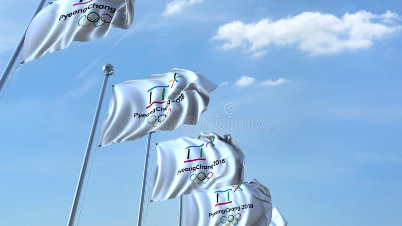 Multiple waving flags with 2018 PyeongChang Winter Olympics logo. Editorial 3D rendering. Multiple waving flags with 2018 Winter Olympics logo stock illustration