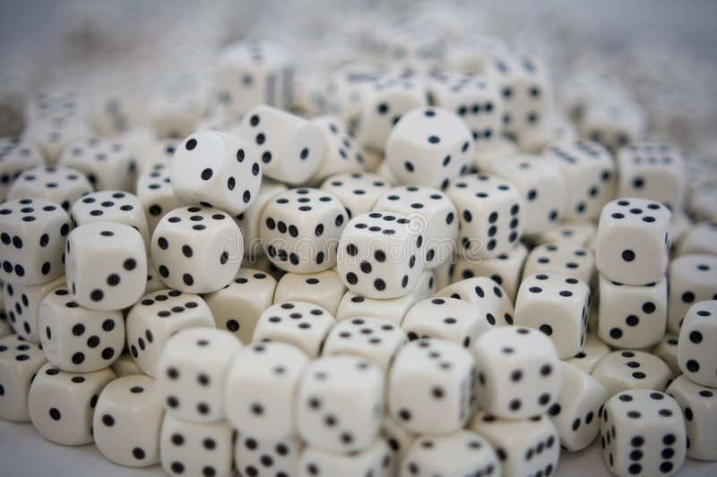 Multiple White dice with Black spots royalty free stock photography
