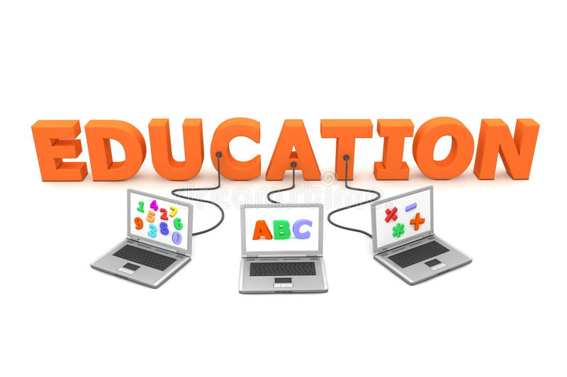 Multiple Wired to Education stock illustration