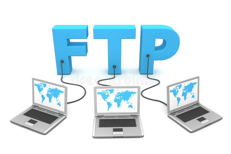 Multiple Wired to FTP vector illustration