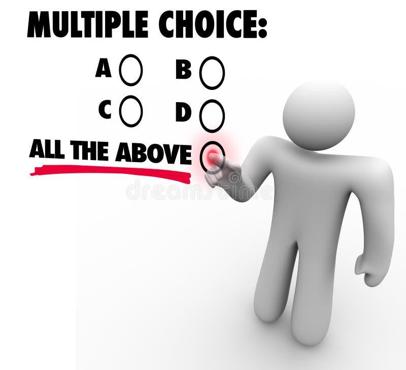 Multipler Choice die ganze oben genannte Wahl-Test-Quiz-Ungewissheit Gues vektor abbildung