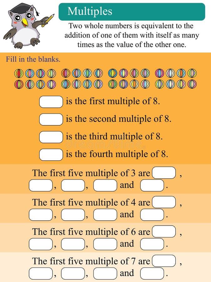 Multiples mathématiques illustration stock