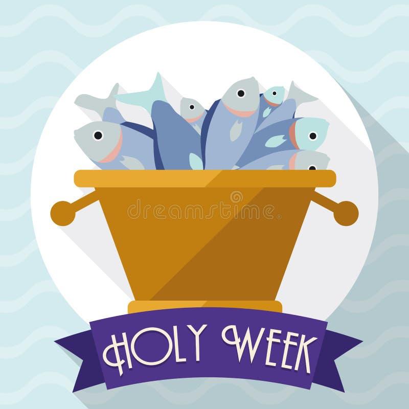 Multiplicação da cena dos peixes no estilo liso para a Semana Santa, ilustração do vetor ilustração royalty free