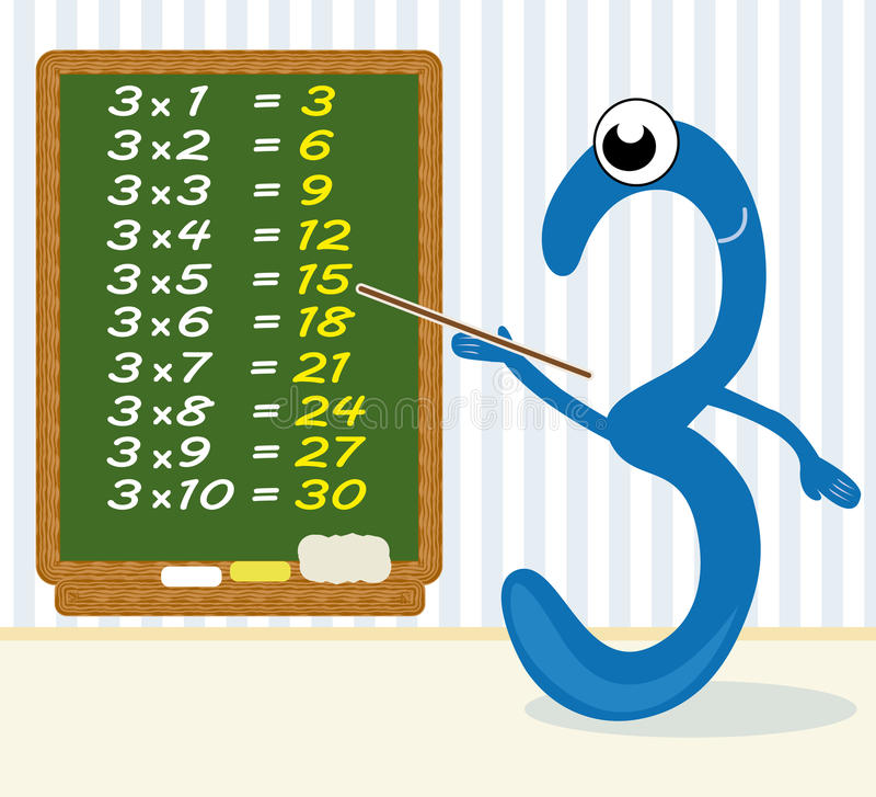 Multiplicação de ensino - número 3 ilustração royalty free