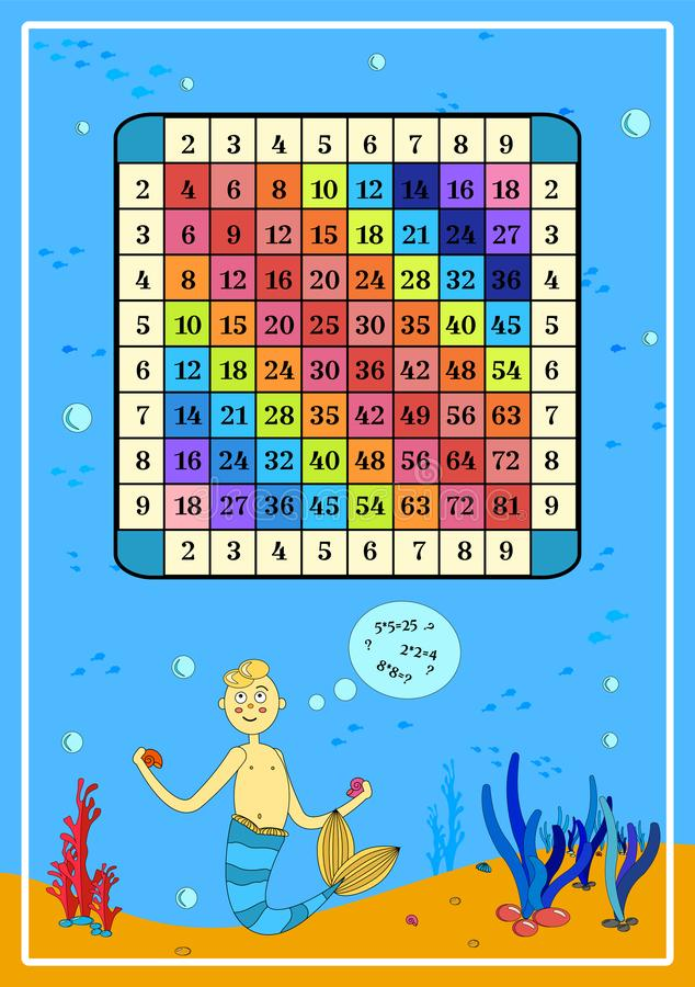 Multiplication carrée avec des exemples mathématiques d'affiche de Tableau de sirène de bande dessinée pour le matériau pédagogiq illustration libre de droits