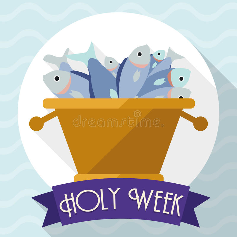 Multiplication of Fishes Scene in Flat Style for Holy Week, Vector Illustration royalty free illustration