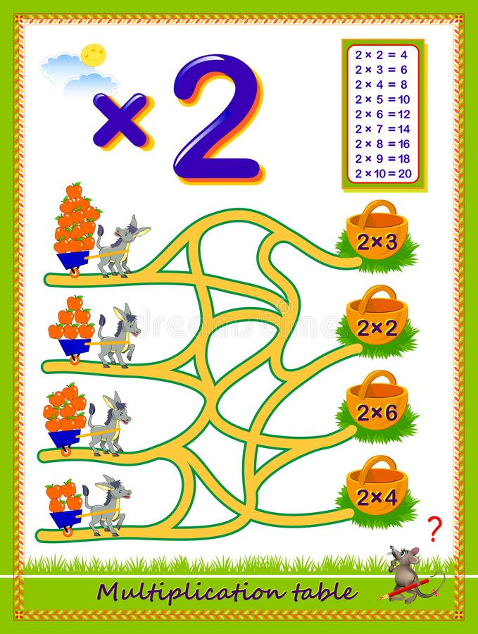 Free Multiplication Table By 2 For Kids. Count The Quantity Of Apples, Find The Way And Draw Lines Till Baskets. Educational Page. Royalty Free Stock Photography - 173600217