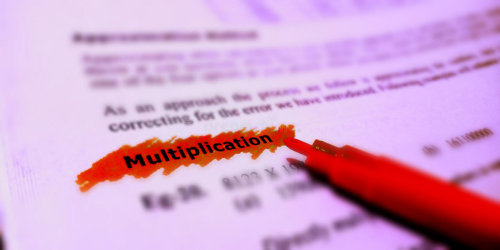 Multiplication text written on english language with red colour covering text stock photo