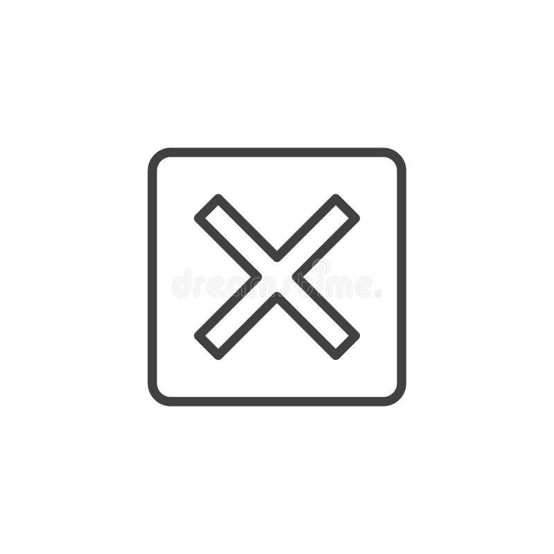 Multiplique o ícone do esboço ilustração do vetor