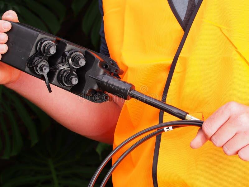 Multiport avec 4 ports pour la connexion internet photos stock