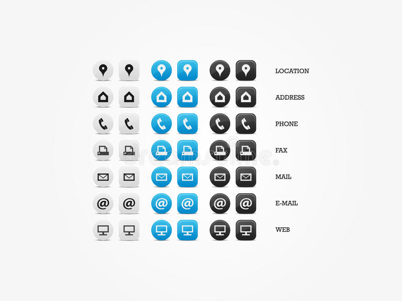 Multipurpose Business Card Icon Set stock illustration