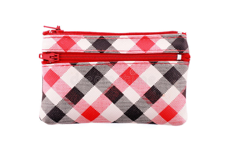 multipurpose colorful checked bag isolated on white royalty free stock photography