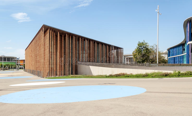 Multipurpose modern building. Located in the city of water in Zaragoza, Spain, on a sunny day stock images
