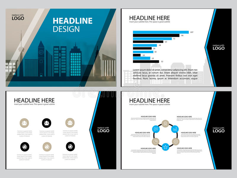 Multipurpose template for presentation slides with graphs and charts. Perfect for your business report or personal use. Multipurpose template for presentation stock illustration
