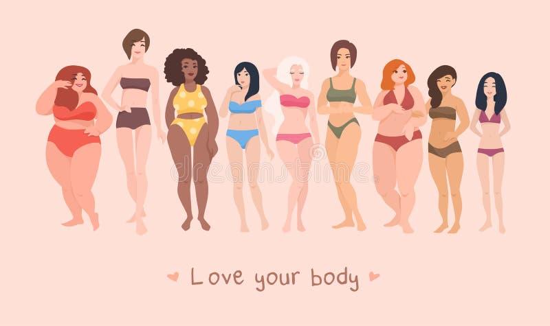 Multiracial женщины различных высоты, диаграммы типа и размера одели в купальниках стоя в строке Женский шарж иллюстрация штока