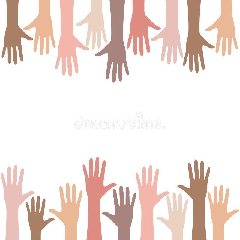 Multiracial люди вручают предпосылку иллюстрация штока