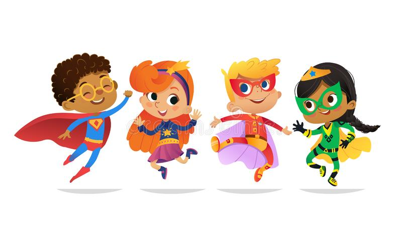 Multiracial Boys and Girls, wearing colorful costumes of superheroes, happy jump. Cartoon vector characters of Kid. Superheroes, isolated on white background vector illustration