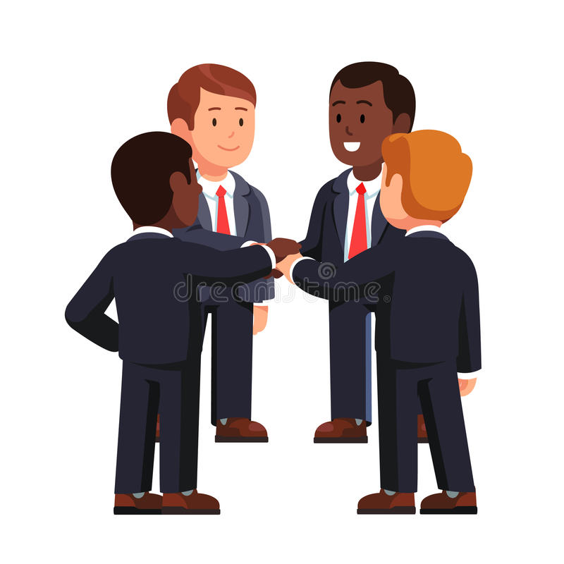 Multiracial business team joining hands together. Multiracial business team standing in circle joining hands together. Project, small entrepreneurship or start vector illustration