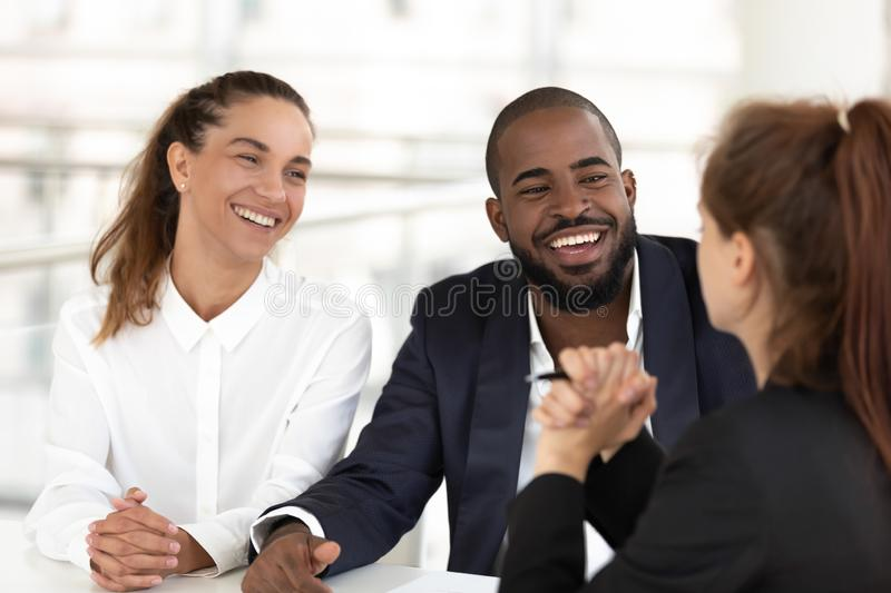 Friendly human resources managers interviewing vacancy candidature royalty free stock photo