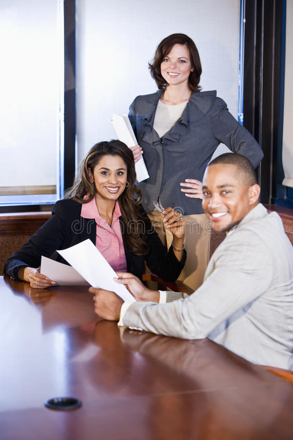 Download Multiracial Businesspeople Working On Report Stock Image - Image: 17660567