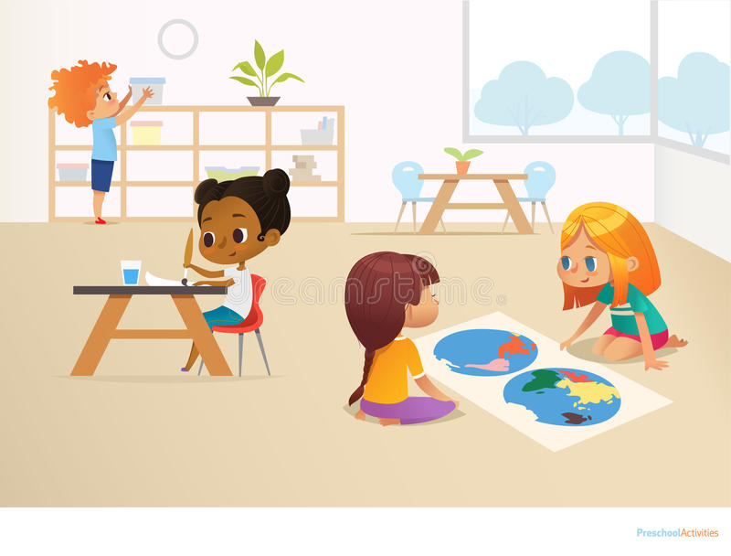 Multiracial children in Montessori classroom. Girls viewing world map. And painting picture and boy taking container off shelf. Educational activities concept royalty free illustration