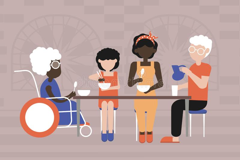 Multiracial family. Dinner in the family circle stock illustration