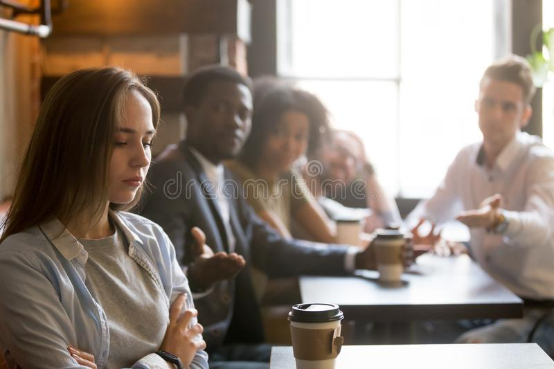 Multiracial friends trying to make peace with offended insulted royalty free stock photography