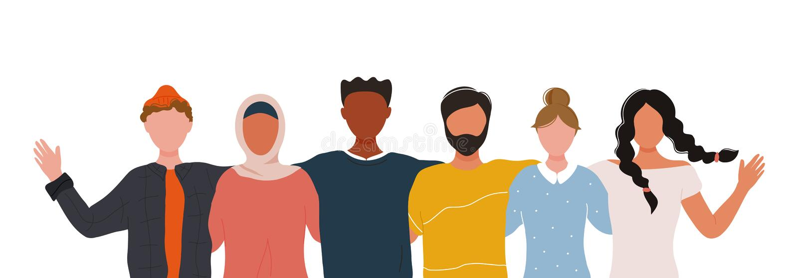 Multiracial group of people embracing each other royalty free illustration