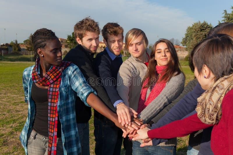 Multiracial händer arkivfoto