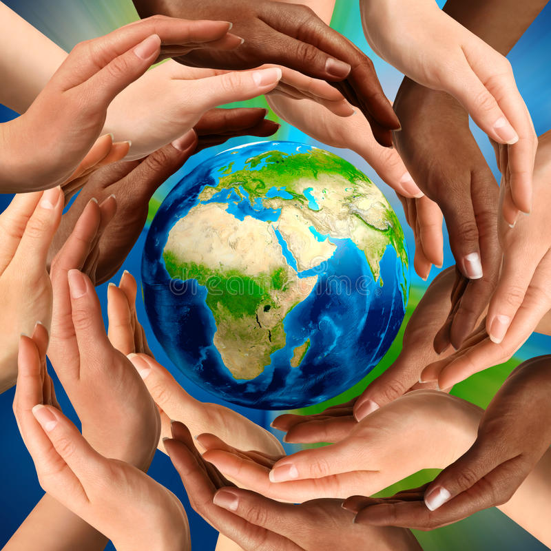 Free Multiracial Hands Around The Earth Globe Stock Photos - 15490113