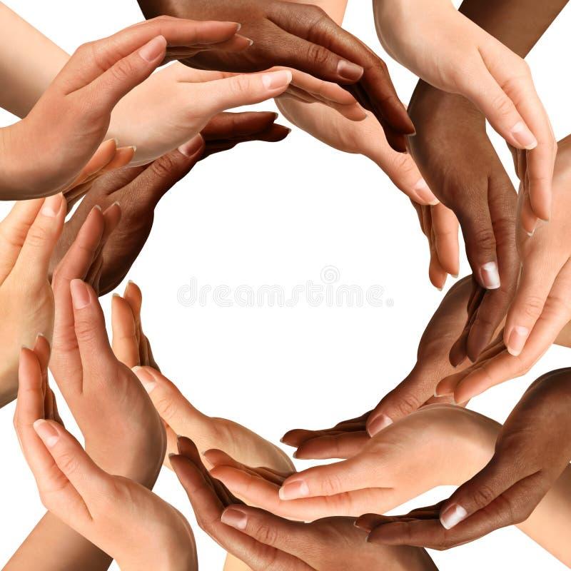 Multiracial Hands Making a Circle royalty free stock photos