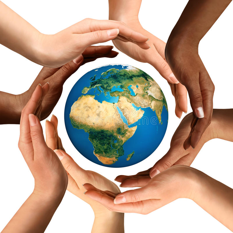 Multiracial Hands Surrounding the Earth Globe. Conceptual symbol of multiracial human hands surrounding the Earth globe. Unity, world peace, humanity concept royalty free stock photo