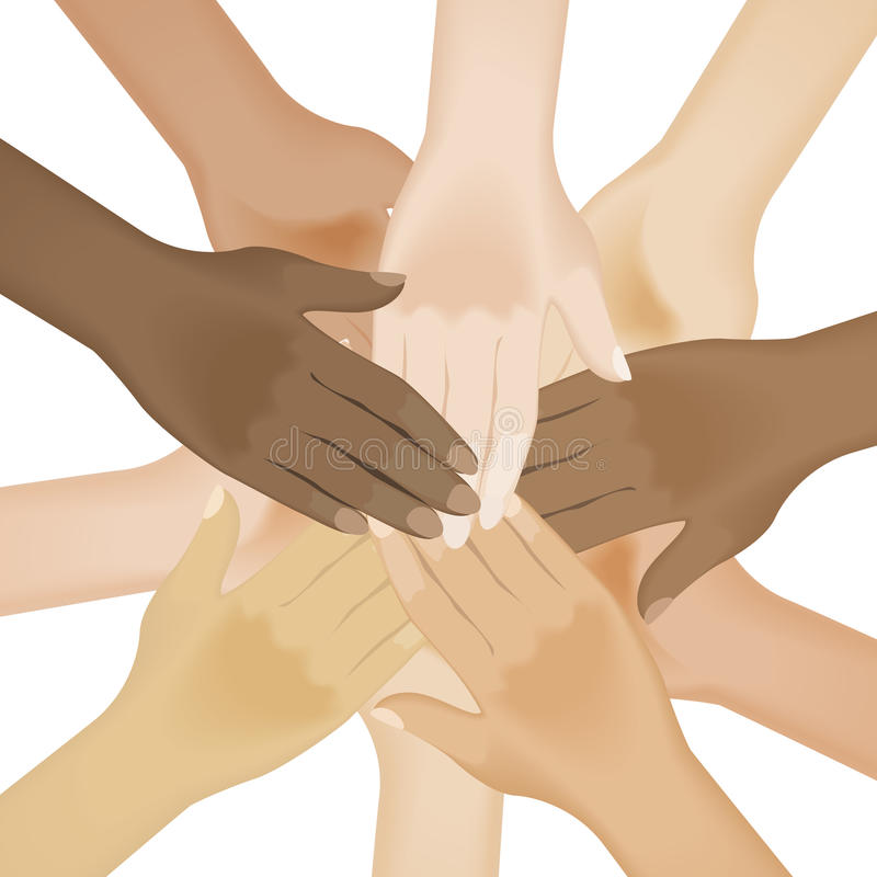 Multiracial human hands vector illustration