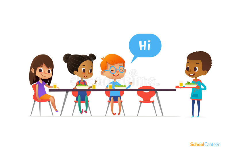 Multiracial kids sitting at table in school canteen and greeting newcomer boy holding tray with food. Children s relationships con royalty free illustration