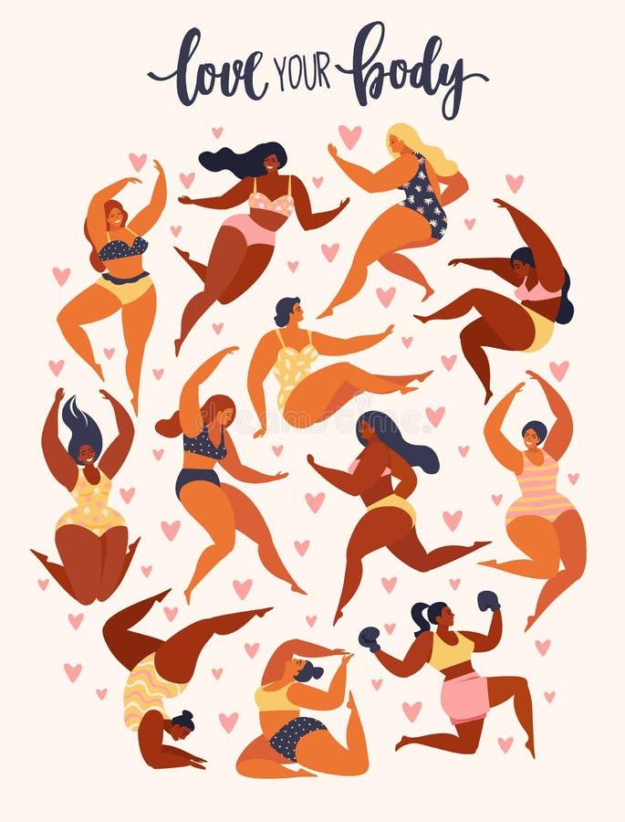 Multiracial kobiety różny wzrost, postać typ i rozmiar, ubierali w swimsuits stoi w rzędzie Żeńska kreskówka royalty ilustracja