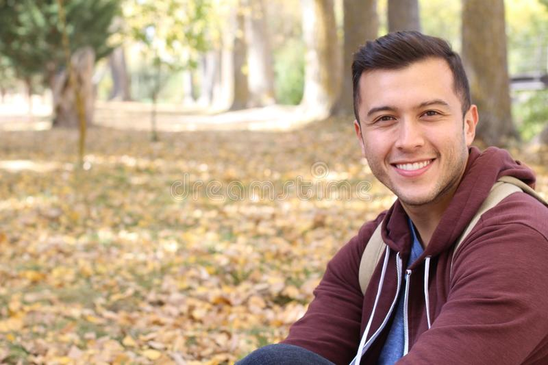Multiracial male smiling with copy space royalty free stock images