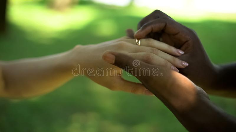 Multiracial marriage, male hand puts golden ring on brides finger, wedding time. Stock photo royalty free stock image