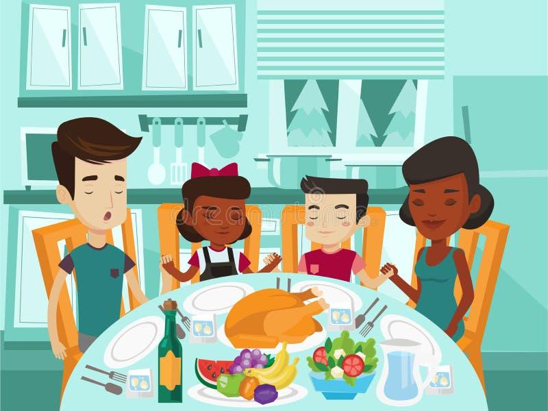 Multiracial rodzinny modlenie przy świątecznym stołem ilustracja wektor