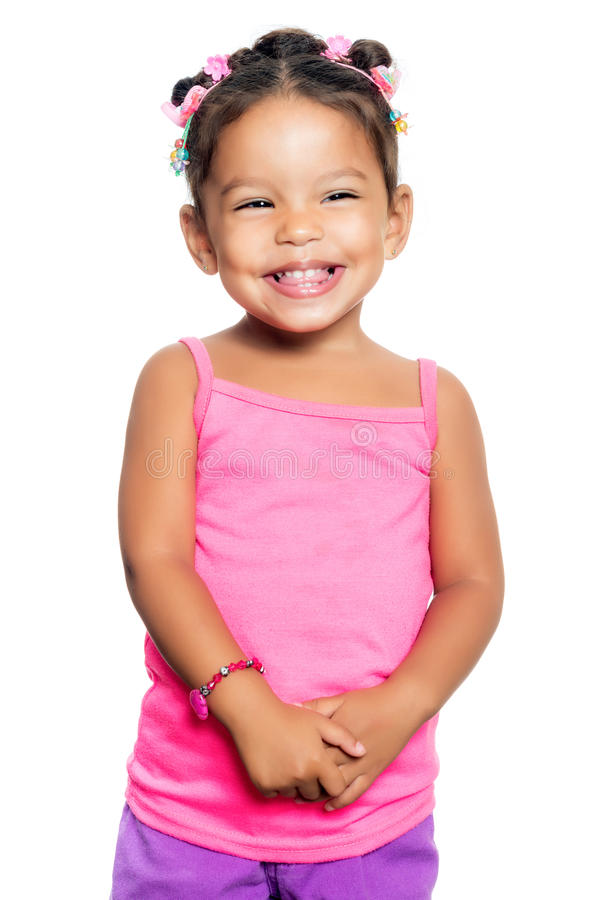Multiracial small girl with a funny expression stock photography