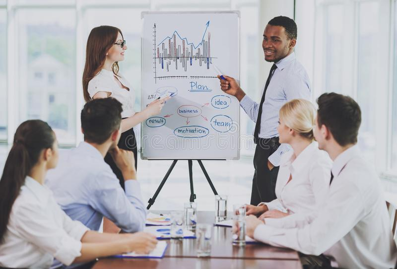Multiracial Team Meeting in Conference Room . stock images