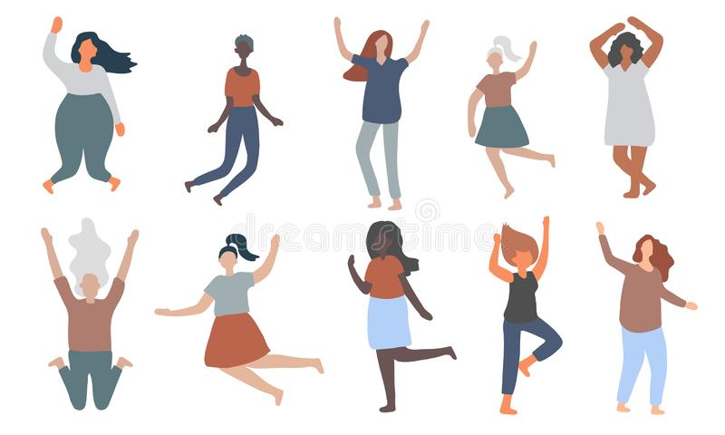 Multiracial women of different figure type and size dressed in comfort wear jump and have fun. royalty free illustration