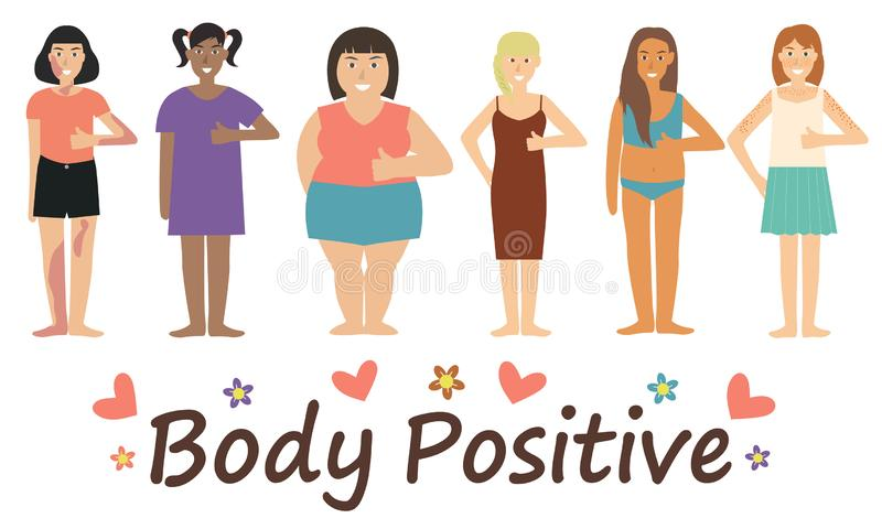 Multiracial women of different figure type and size dressed in comfort wear standing in row. vector illustration