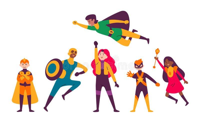 Multiraciale jonge geitjes die kostuums van verschillende superheroes dragen vector illustratie