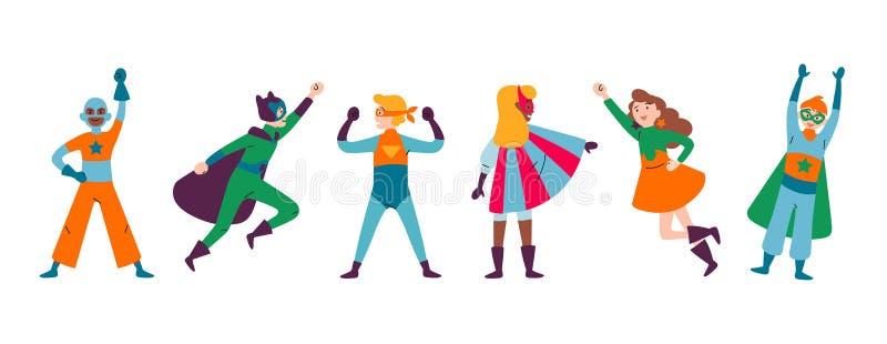 Multiraciale Jongens en Meisjes, die kostuums van superheroes dragen vector illustratie
