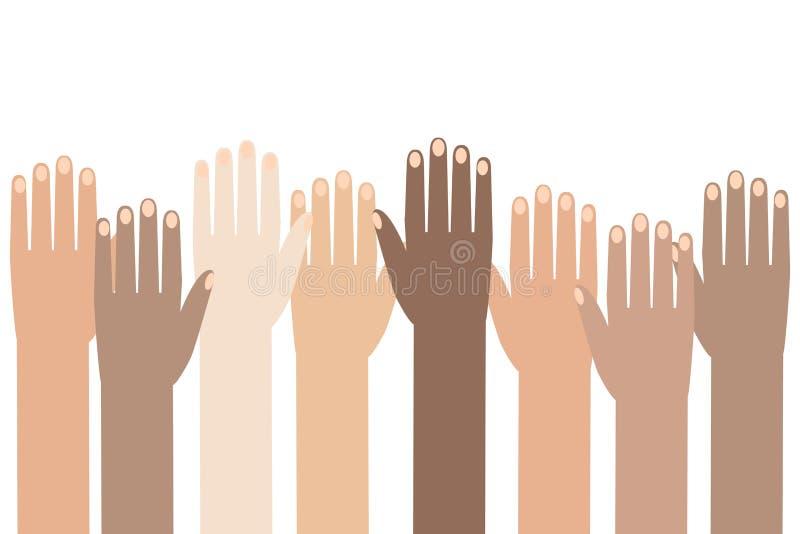 Multiraciale Kleurrijke Opgeheven Volkeren` Handen illustratie van de achtergrond van de Rechten van de mensdag stock illustratie
