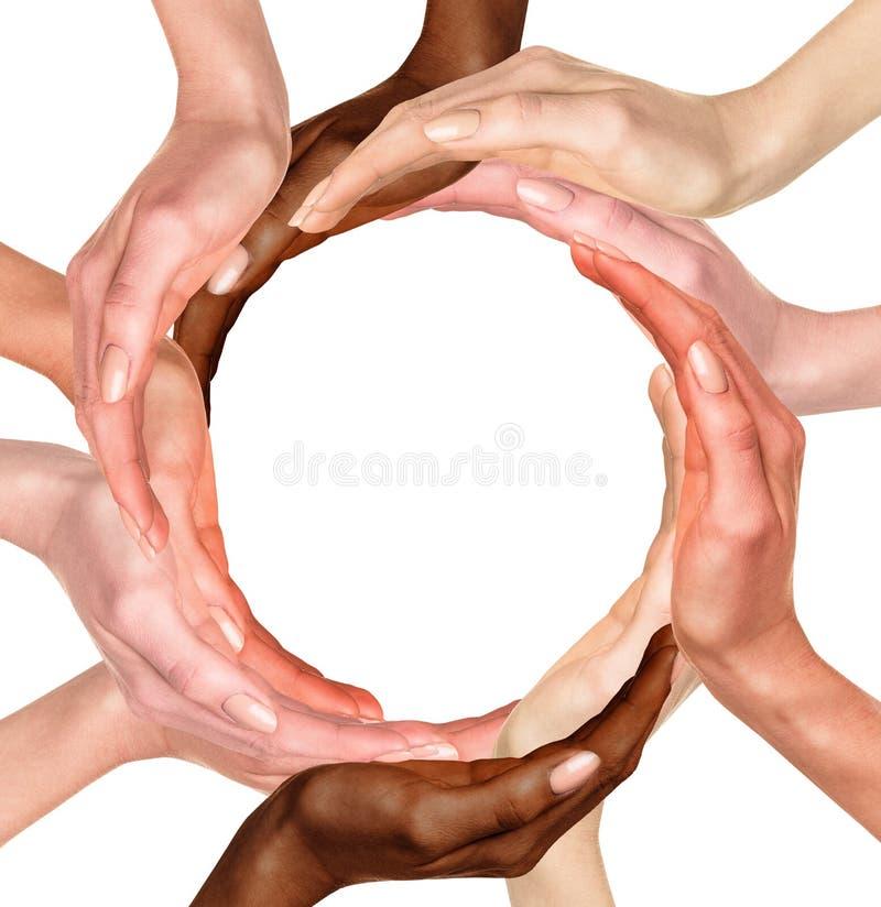 Multiraciale menselijke handen stock afbeelding