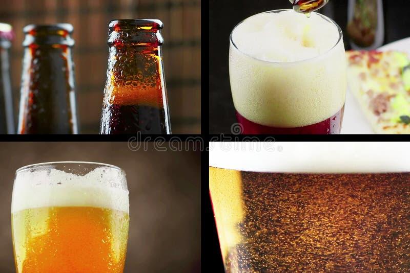 Multiscreen场面用倾吐,饮料和特写镜头新鲜的啤酒,生活方式和放松概念 库存图片