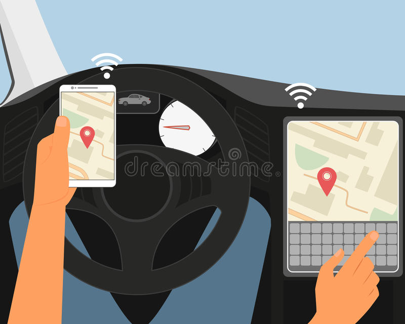 Multiscreen interaction. Synchronization of. Smartphone and smartcar vector illustration