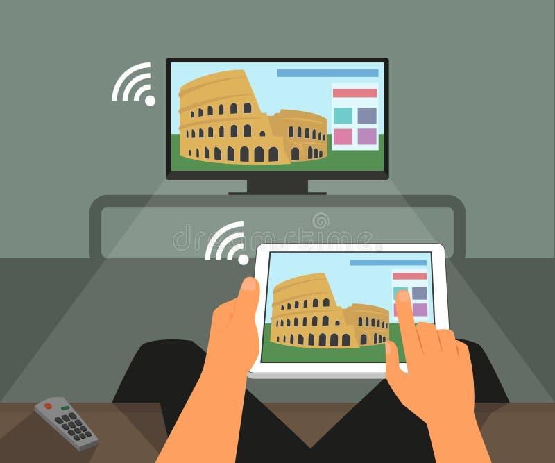 Multiscreen-Interaktion Mann nimmt an Fernsehen teil lizenzfreie abbildung