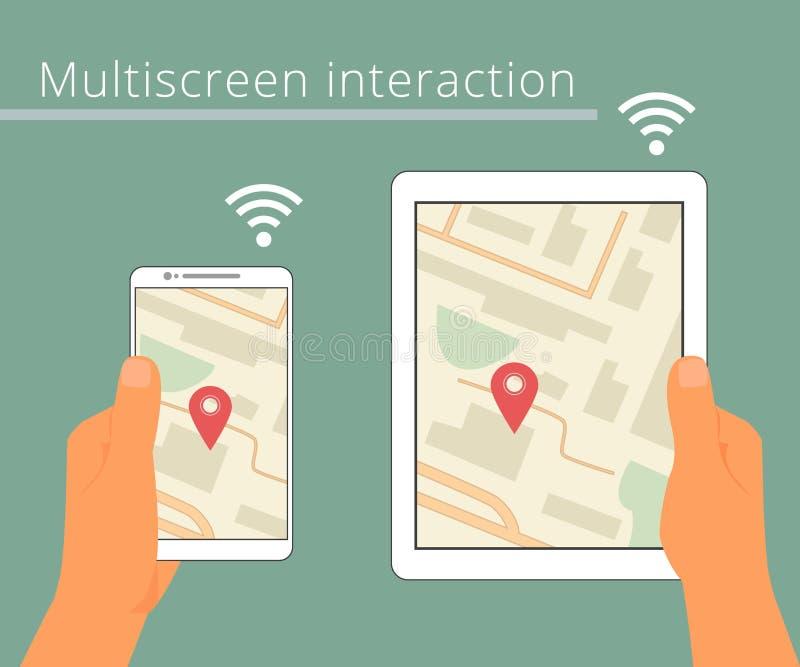 Multiscreen-Interaktion Synchronisierung von stock abbildung
